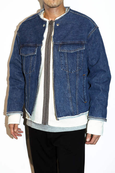Collection Line No Collar Denim Blouson